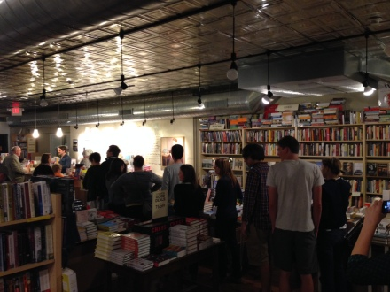 A healthy midnight-on-a-Monday turnout to buy a book that will still be on sale on Tuesday.